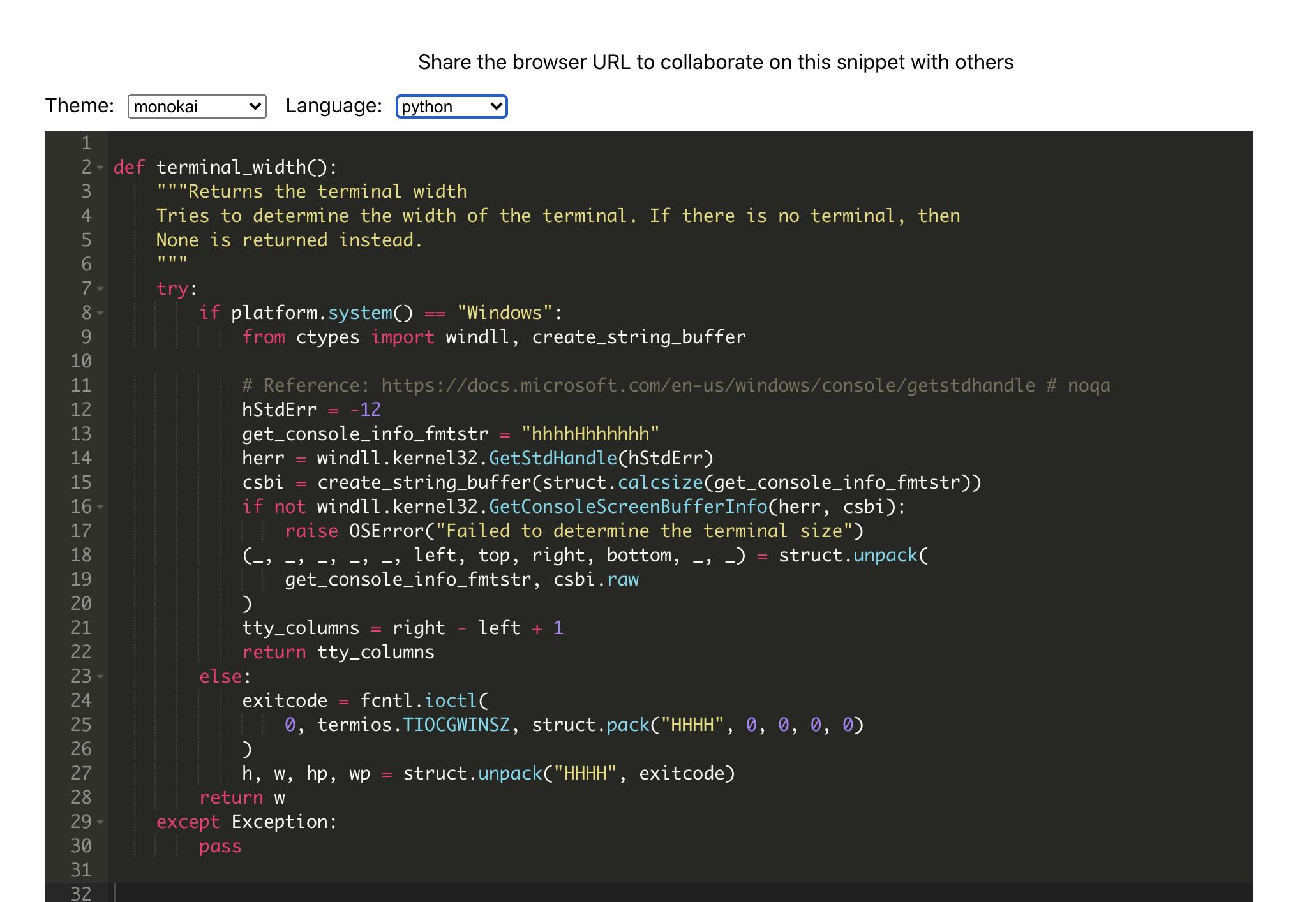 Screenshot: Python source code in codesnip